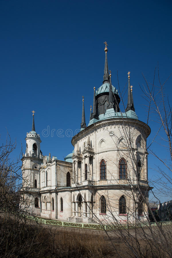Gothic style princess castle in village Bykovo. Church of Our Lady of Vladimir Russian of Gothic style (or pseudo) in the Moscow region village Bykovo. Called stock image