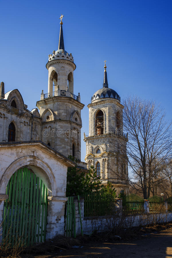 Gothic style princess castle in village Bykovo. Church of Our Lady of Vladimir Russian of Gothic style (or pseudo) in the Moscow region village Bykovo. Called royalty free stock photography