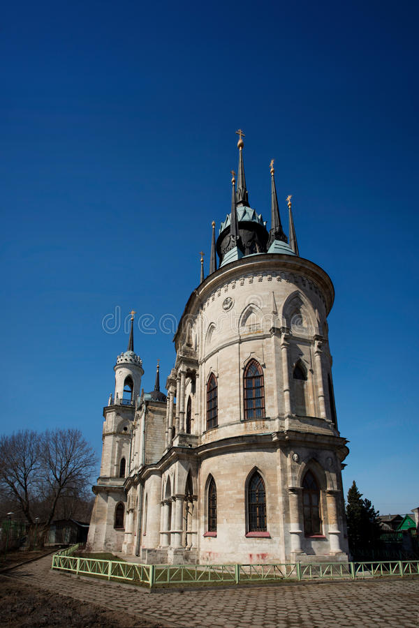 Gothic style princess castle in village Bykovo. Church of Our Lady of Vladimir Russian of Gothic style (or pseudo) in the Moscow region village Bykovo. Called royalty free stock photos