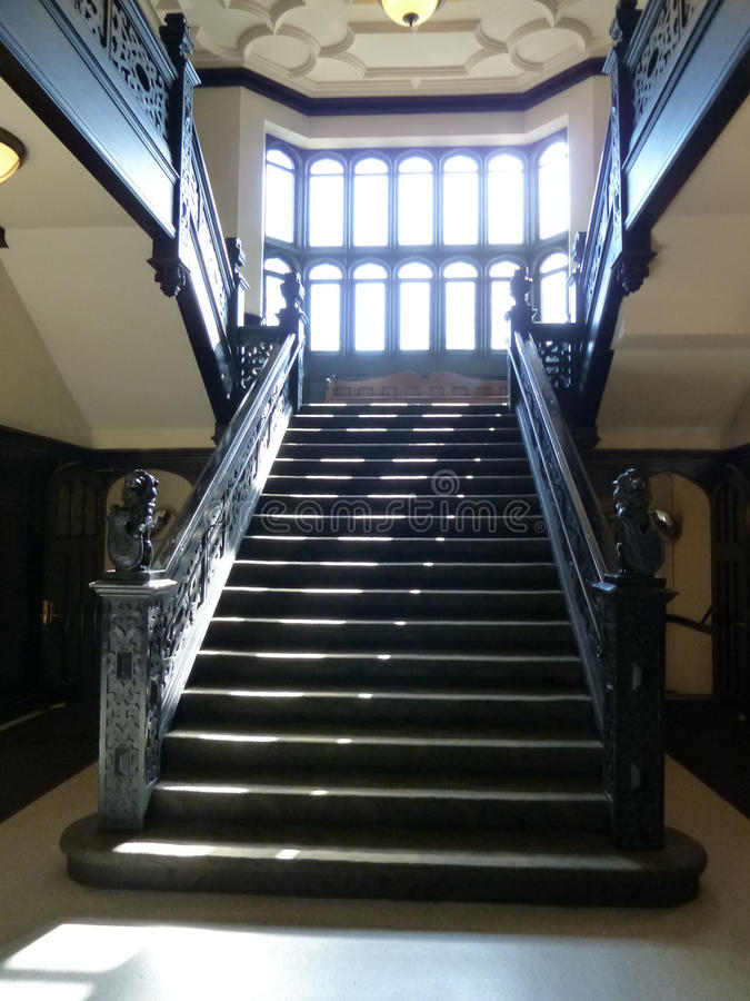 Gothic Style Staircase. Gothic Style Sunlit Staircase in Early Morning stock photos