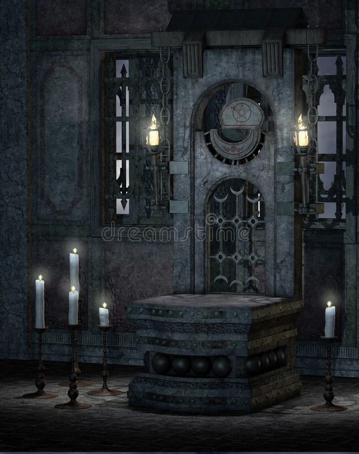 Gothic temple 1. Gothic temple interior with an altar and candelabras stock illustration