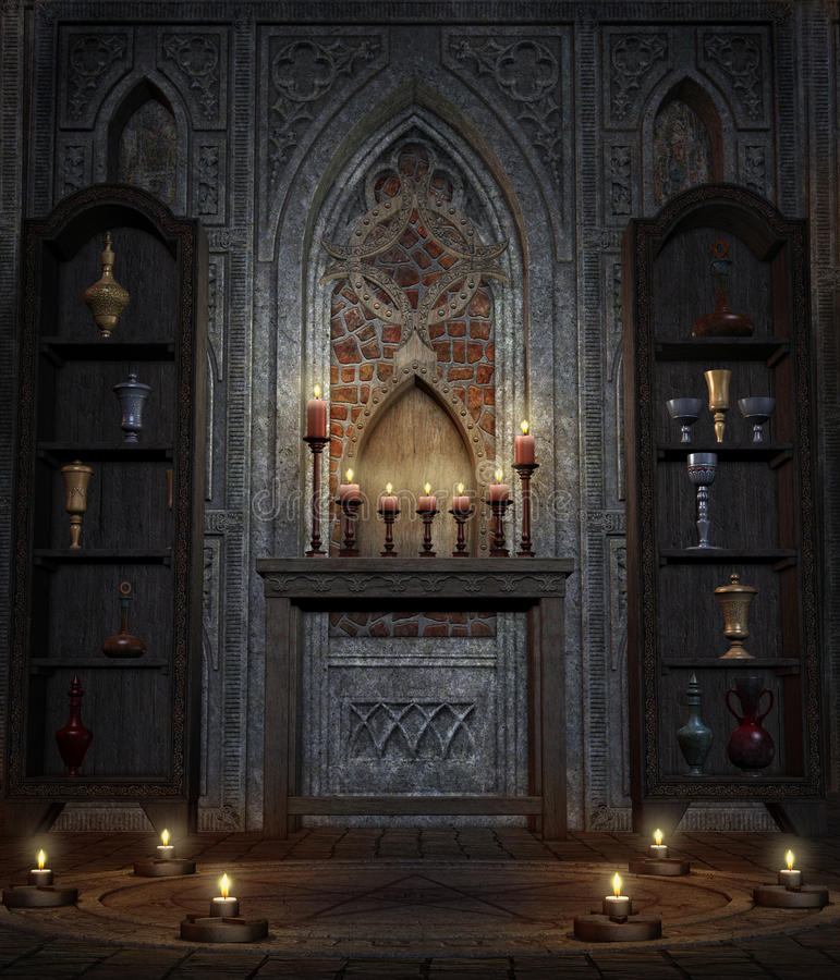 Gothic temple 4. Gothic temple with candles and chalices royalty free illustration