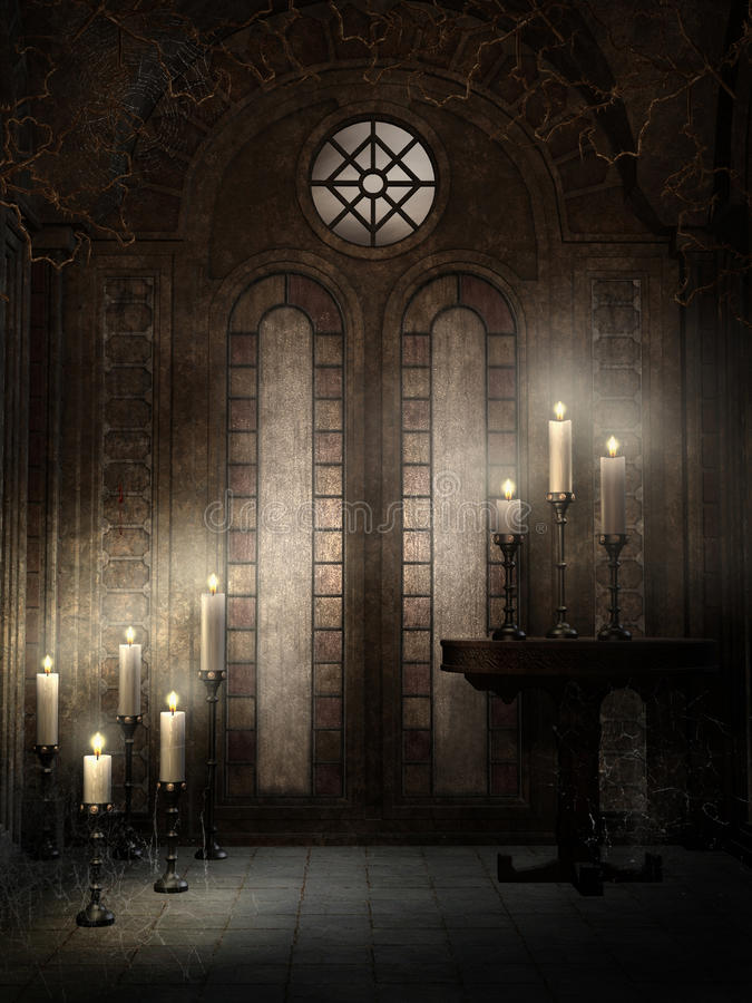 Gothic temple with thorns. An candles vector illustration
