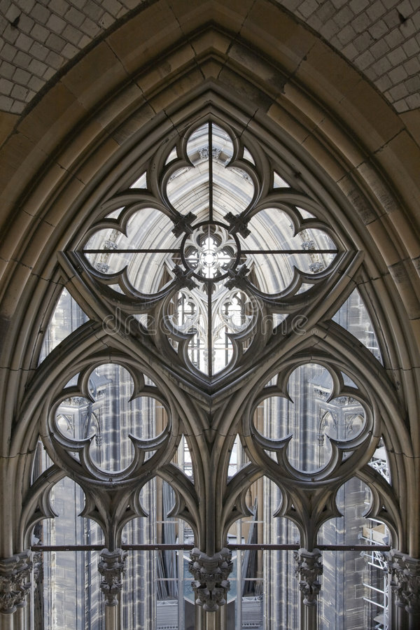 Gothic tower decoration stock photography