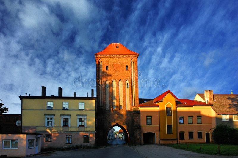 Gothic town gate of Darlowo, Poland royalty free stock image