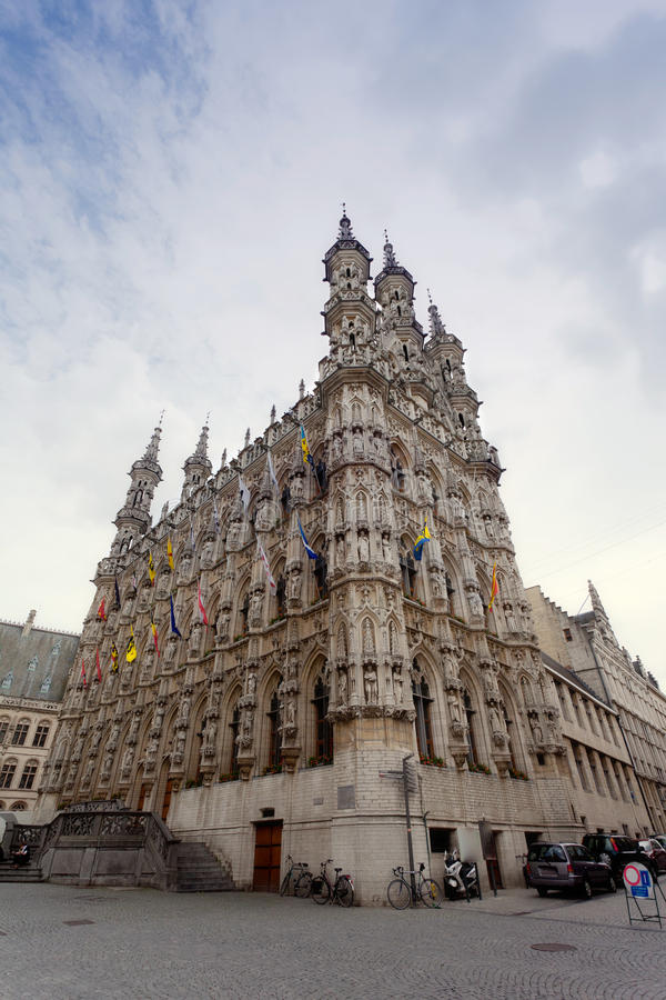 Gothic Town Hall in Leuven stock photography