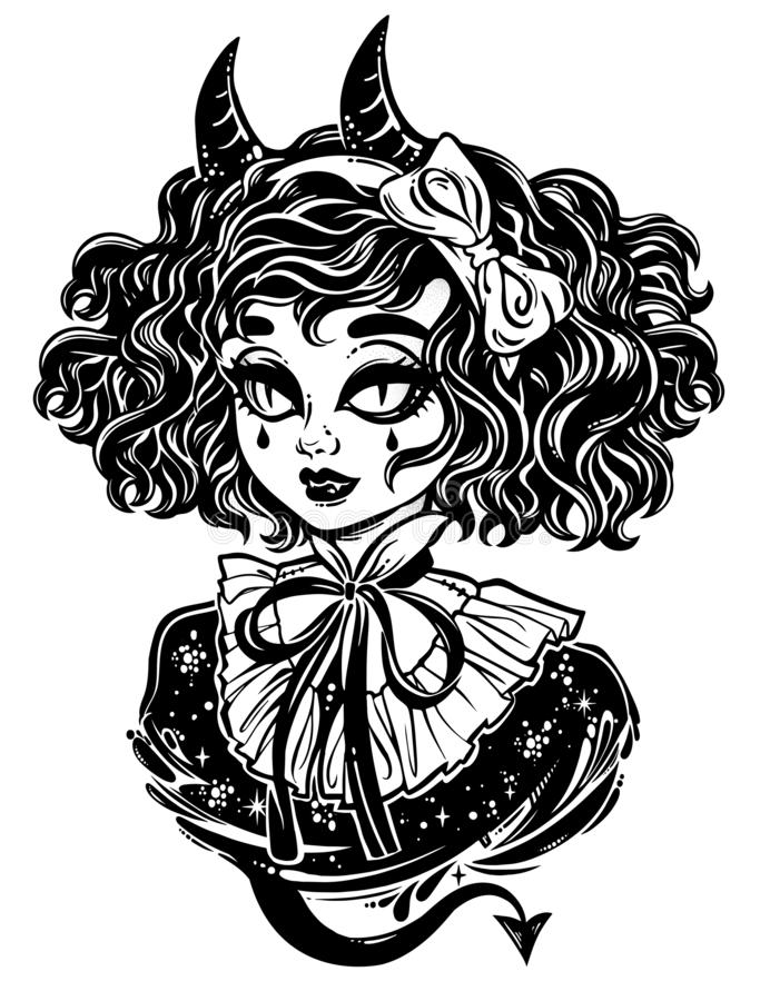 Free Gothic Victorian Demonic Girl Head Portrait With Inp Horns And Curly Hair. Stock Image - 137168211