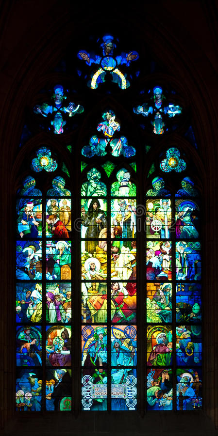 Gothic window. Old gothic window from saint Vit cathedral royalty free stock image