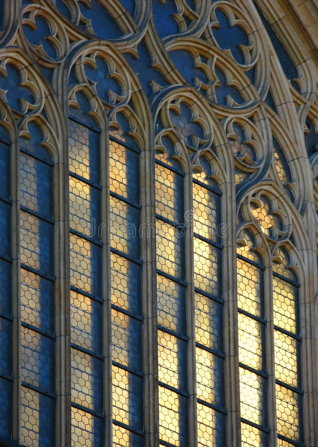 Gothic window. St. Vitus' Cathedral, Prague stock photo