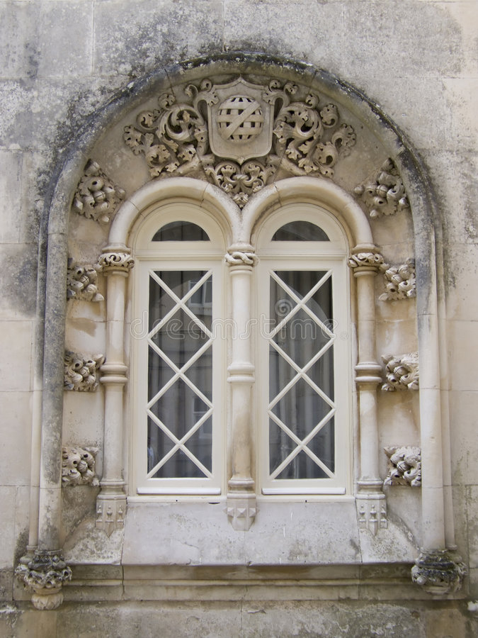 Gothic window. From old palace in Portugal stock photography