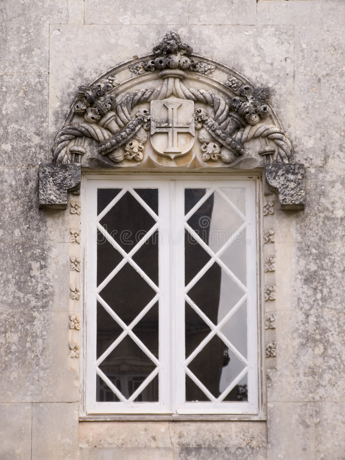 Gothic window. From old palace in Portugal royalty free stock images