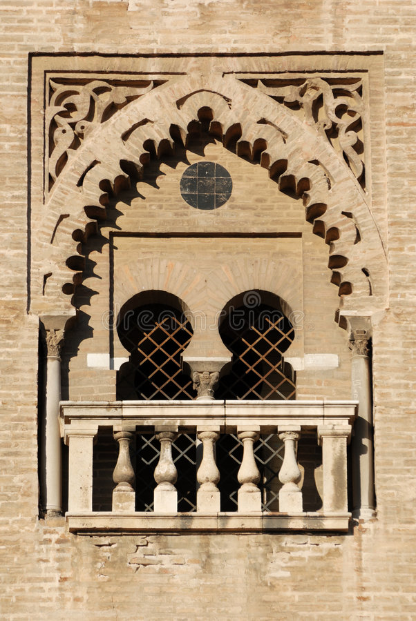 Gothic window. In the medieval cathedral of Sevilla, Spain royalty free stock photo