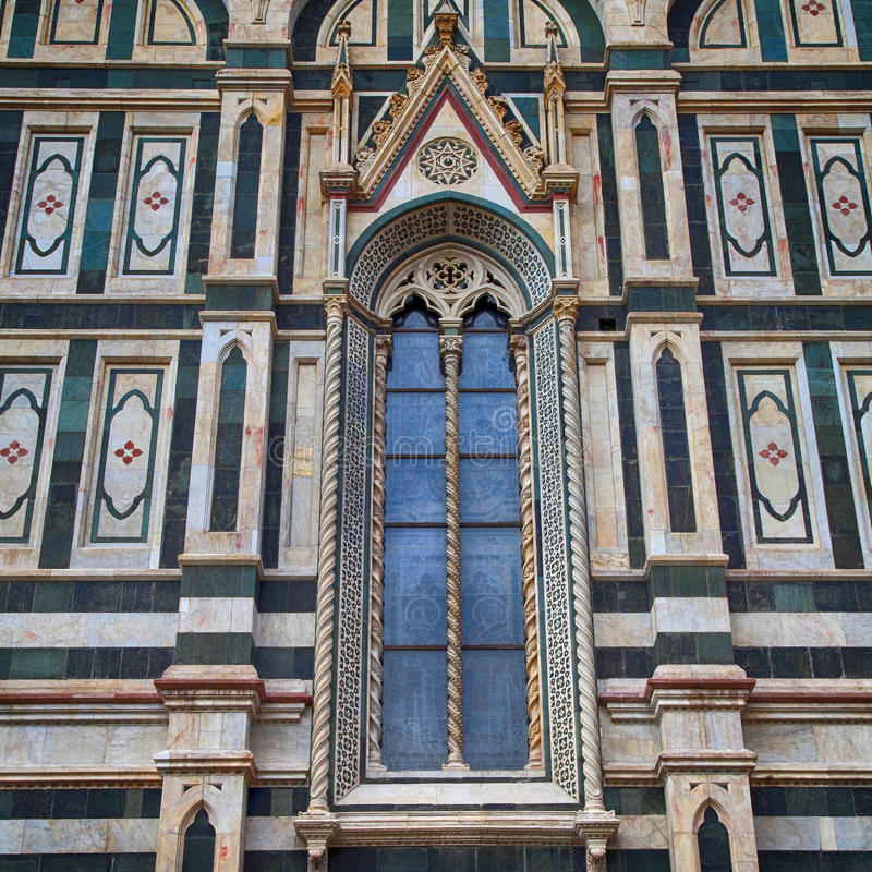 Gothic window in Duomo cathedral, Florence, Italy stock photos