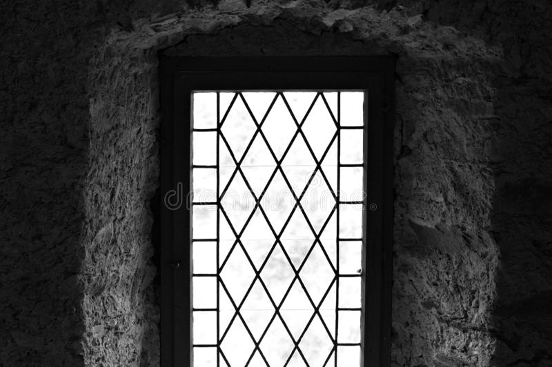 Gothic window of a medieval house - view through window. Germany, Europe royalty free stock photos