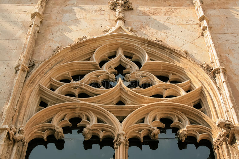 Gothic window. Old gothic church window close-up royalty free stock image