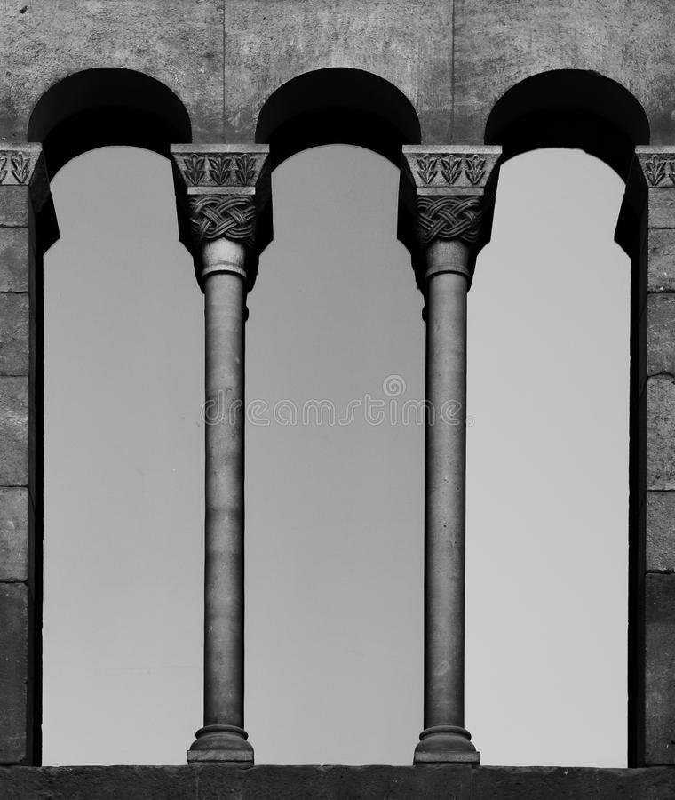 Gothic window. Shot in black and white, detail of a window on the facade of an historic building, placed in Gothic district , set in Barcelona, Catalonia stock photo