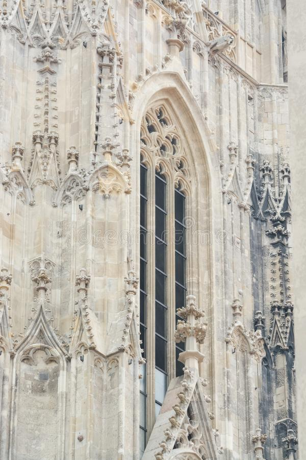Gothic window of St. Stephen`s Cathedral royalty free stock images