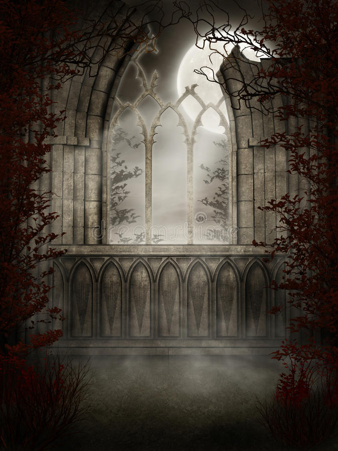 Gothic window with thorns vector illustration