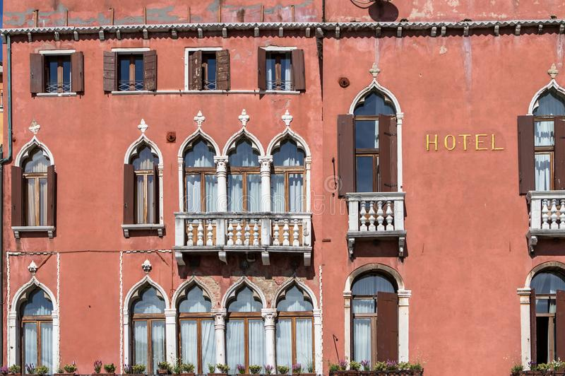 Gothic windows in venetian palace stock images