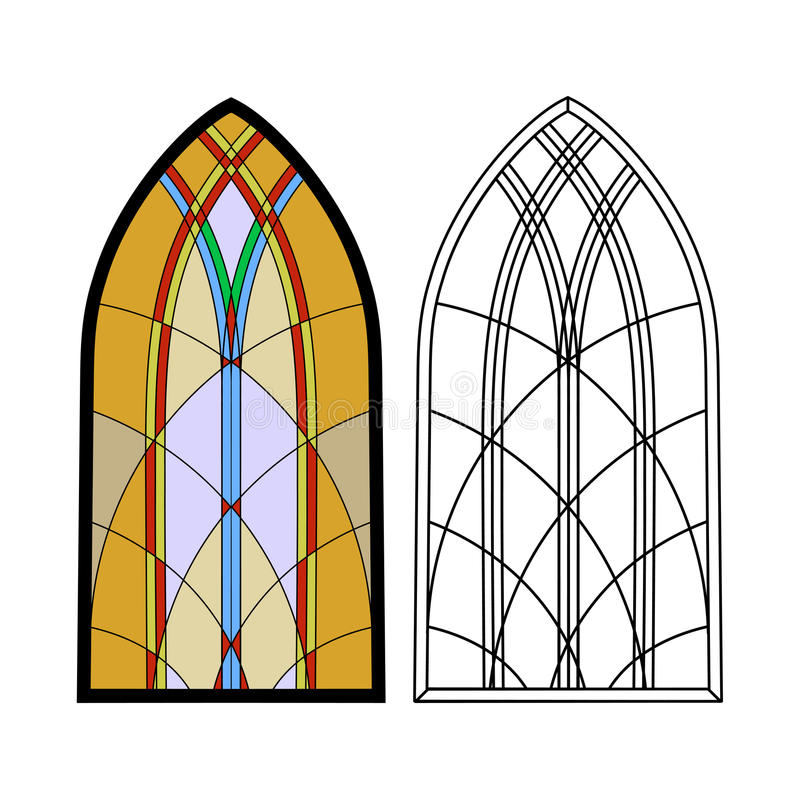 Gothic windows. Vintage frames. Church stained-glass windows. On the image is presented Gothic windows. Vintage frames. Church stained-glass windows