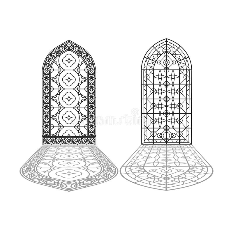 Download Gothic Windows Vintage Frames Church Stained Glass Stock Illustration