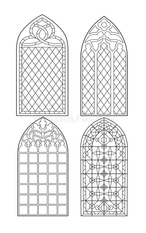 Download Gothic Windows Vintage Frames Church Stained Glass Stock Vector