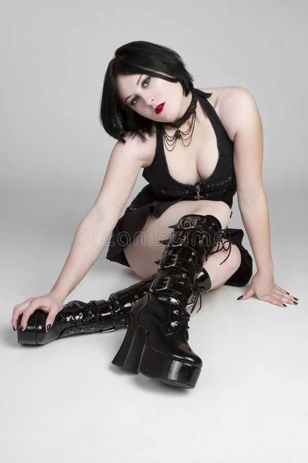 Gothic Woman. Young gothic evil woman posing stock images