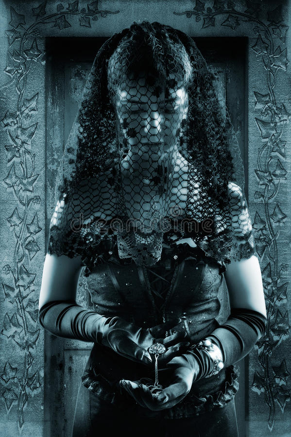 Gothic woman. A beautiful young woman dressed in black wearing a veil royalty free stock images
