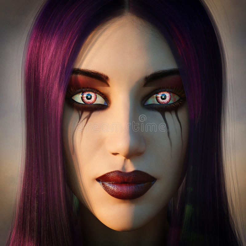 Gothic woman with fantasy eyes stock illustration
