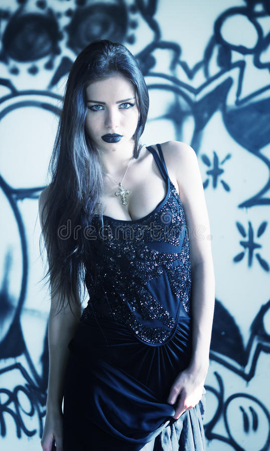 Gothic woman. Portrait of a beautiful gothic woman stock photography