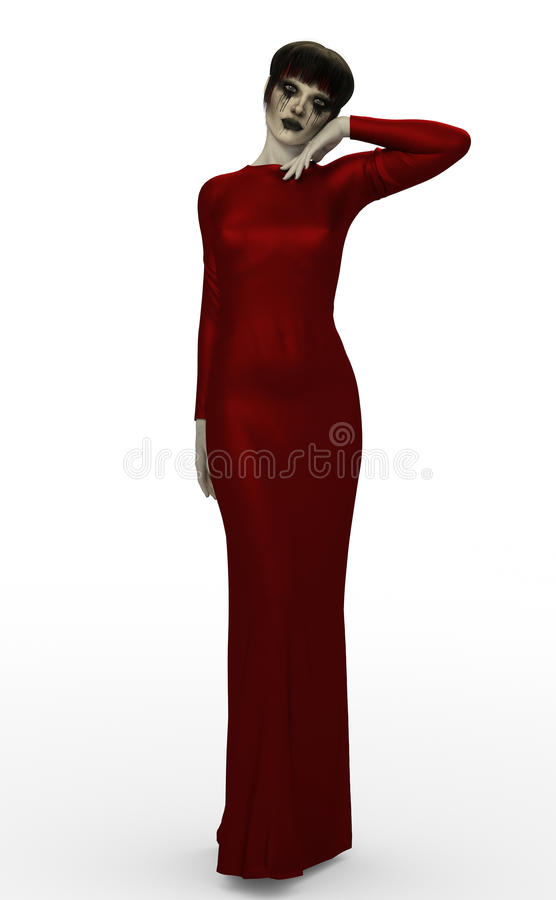 Gothic woman in red dress royalty free stock photography