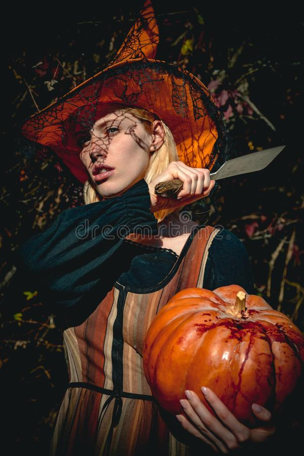 Gothic woman in witch halloween costume and with hat. Portrait of young women in halloween costumes over outdoor wood. Gothic woman in witch halloween costume stock images