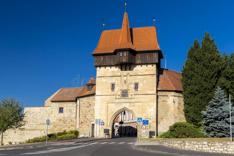 Gothic Zatec gate and medieval fortification in Louny, Czech republic stock photography