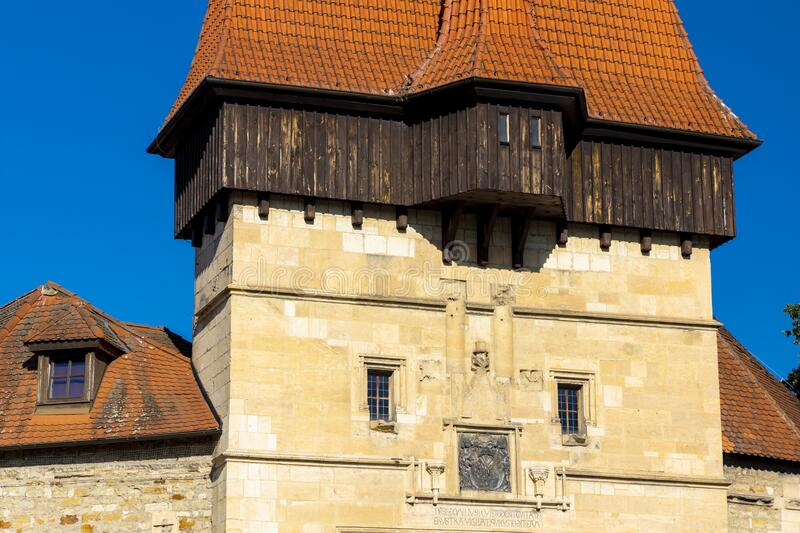 Gothic Zatec gate and medieval fortification in Louny, Czech republic royalty free stock photos