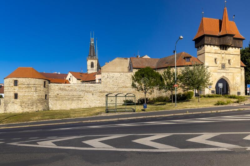 Gothic Zatec gate and medieval fortification in Louny, Czech republic royalty free stock image