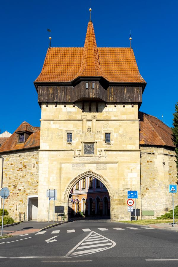 Gothic Zatec gate and medieval fortification in Louny, Czech republic stock photos