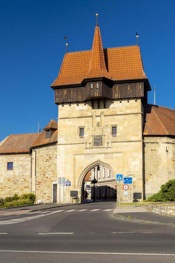 Gothic Zatec gate and medieval fortification in Louny, Czech republic royalty free stock photography