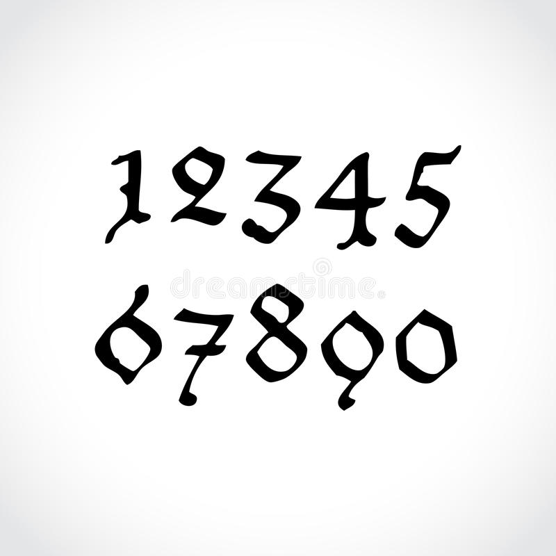 Gothical handwritten numbers vector illustration