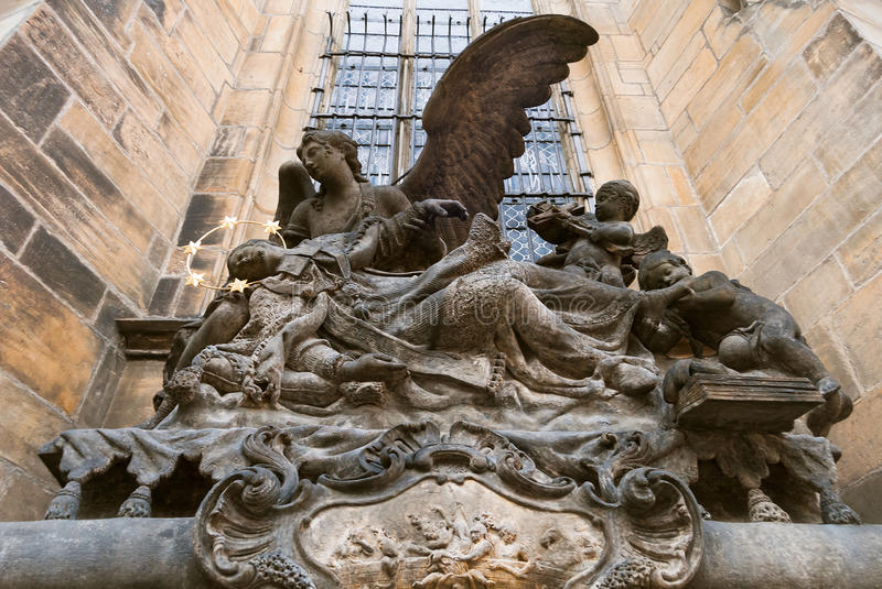 Gothical statue, lion, saints, exterior of medieval cathedral royalty free stock image