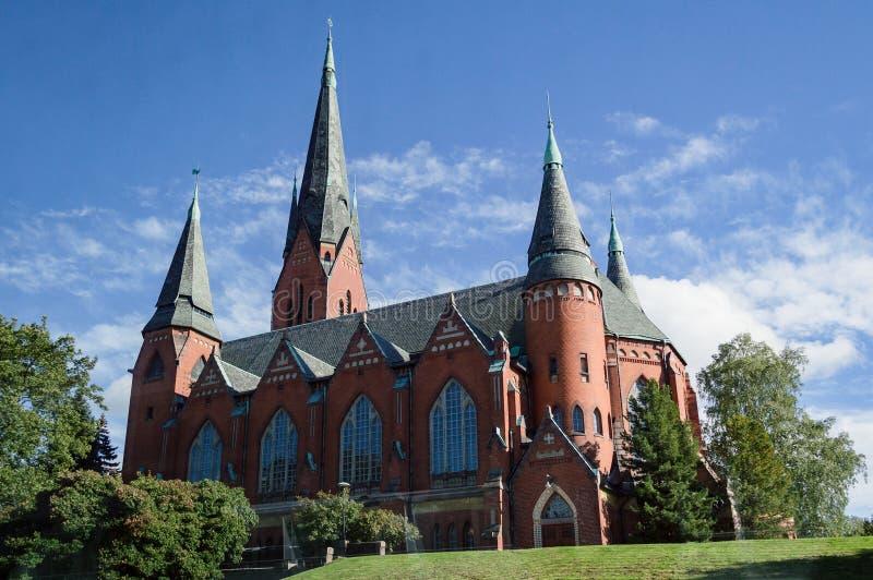 Gothique de cathédrale d'église néo- fait de briques, ville de Turku image stock