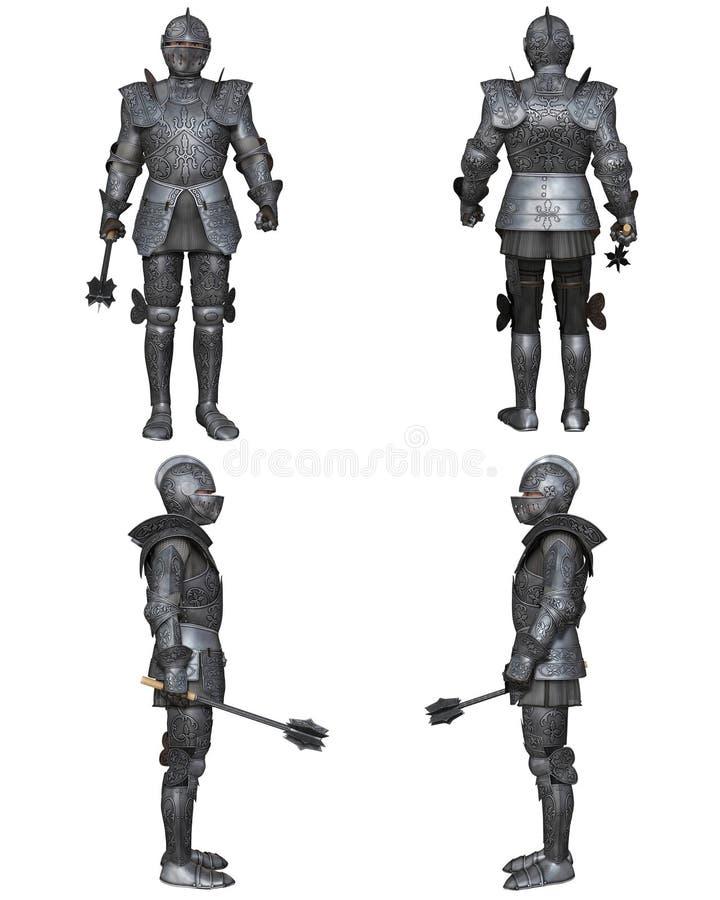 Gothique médiéval de Fantasy Character Set de chevalier décoré illustration libre de droits