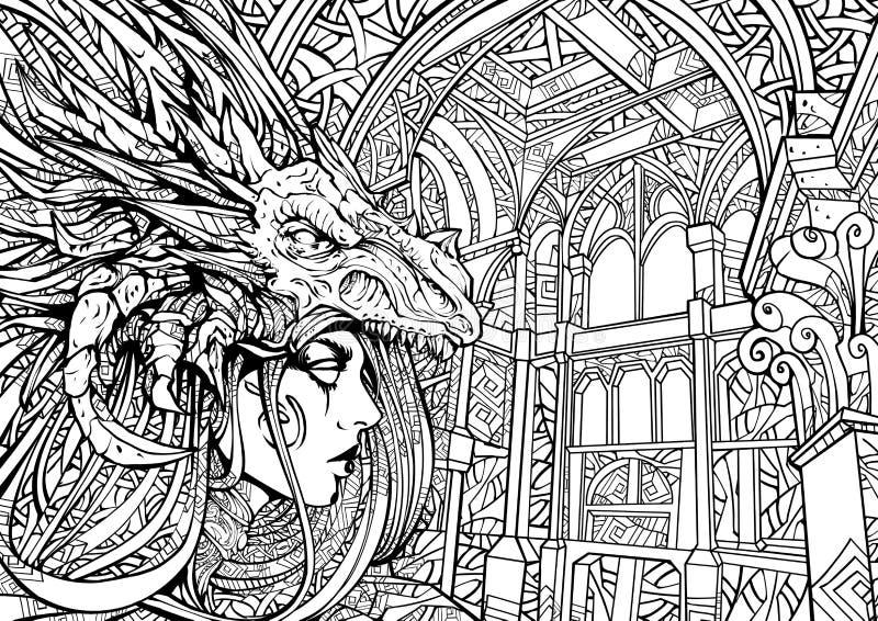 Gothmeisje in de lijn-kunst van het draakmasker zen stock illustratie