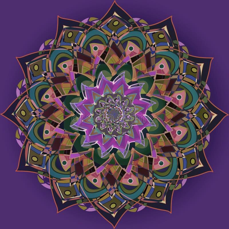 Gotic mandala för dahlia, vanlig violett bakgrund, central blomma i lila, purpurfärgat, violett, grönt ljust - grönt, brunt, ljus stock illustrationer