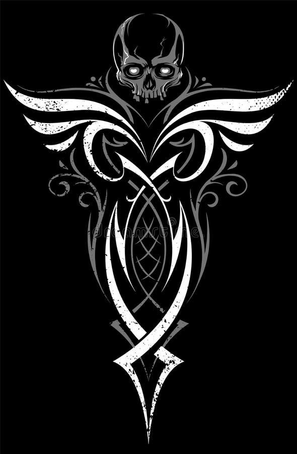 Gotisch Abstract Ornament met Schedel stock illustratie