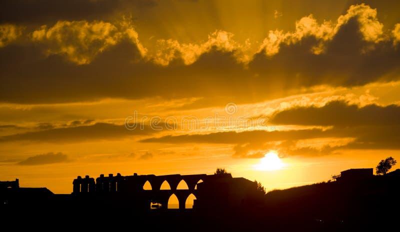 Gotisch aquaduct, Morella royalty-vrije stock foto