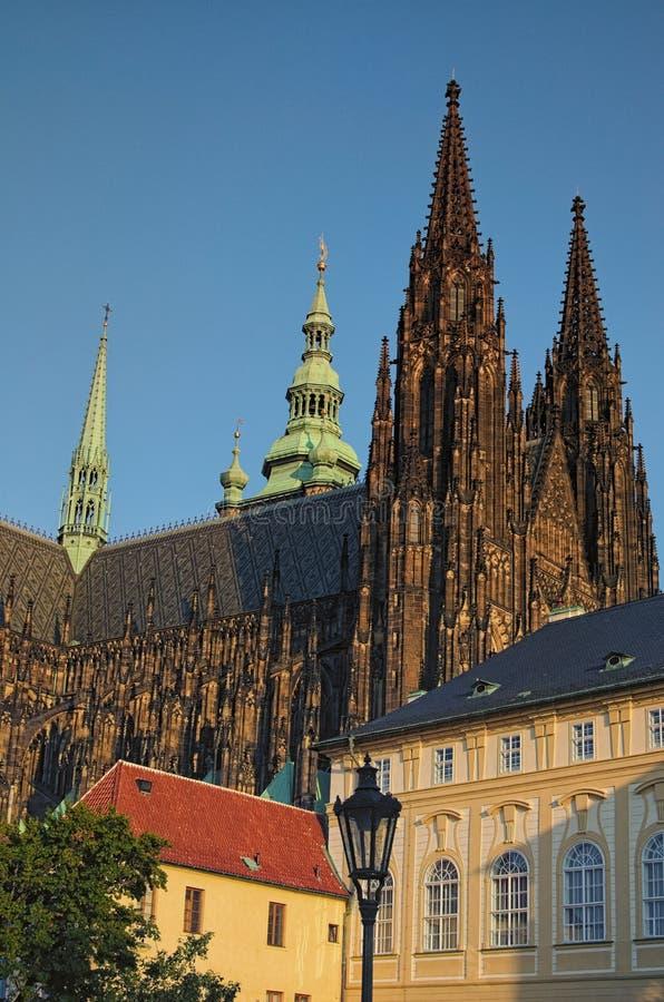 Gotisch architectuur en binnenland van St Vitus Cathedral de grootste die kerk in het Kasteel van Praag wordt gevestigd Praag, Ts stock foto