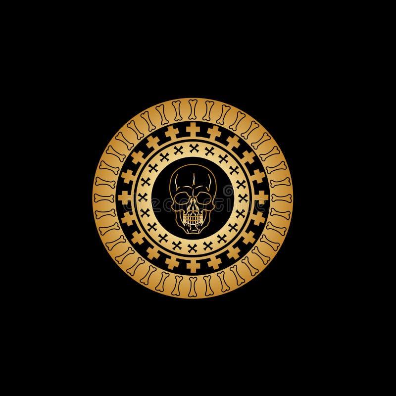 Gotisch cirkelornament met patronen van de gekruiste tibial beenderen en een gouden uitstekende schedel in het centrum van samens vector illustratie