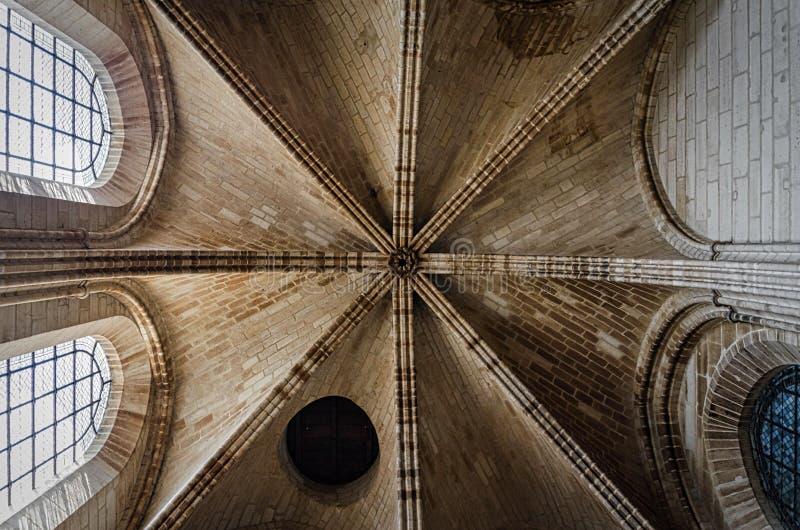 Gotisch de architectuurplafond van Notre-Dame royalty-vrije stock foto