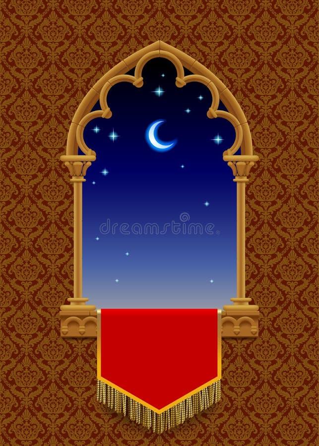 Gotisch decoratief venster met rode banner en sterrige nachthemel  stock illustratie