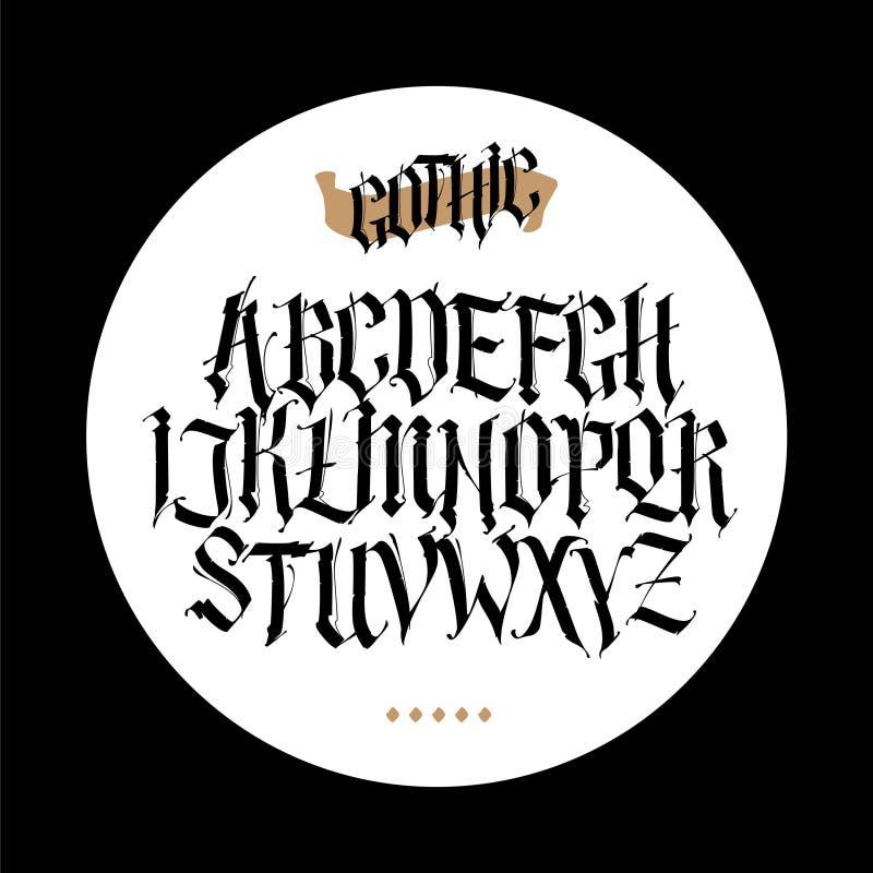 Gotisch, Engels alfabet Beeldverhaal polair met harten Doopvont voor tatoegering, persoonlijke en commerciële doeleinden De eleme stock illustratie